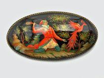 Brooch Palekh 'Firebird', 6*3cm, master Komardina