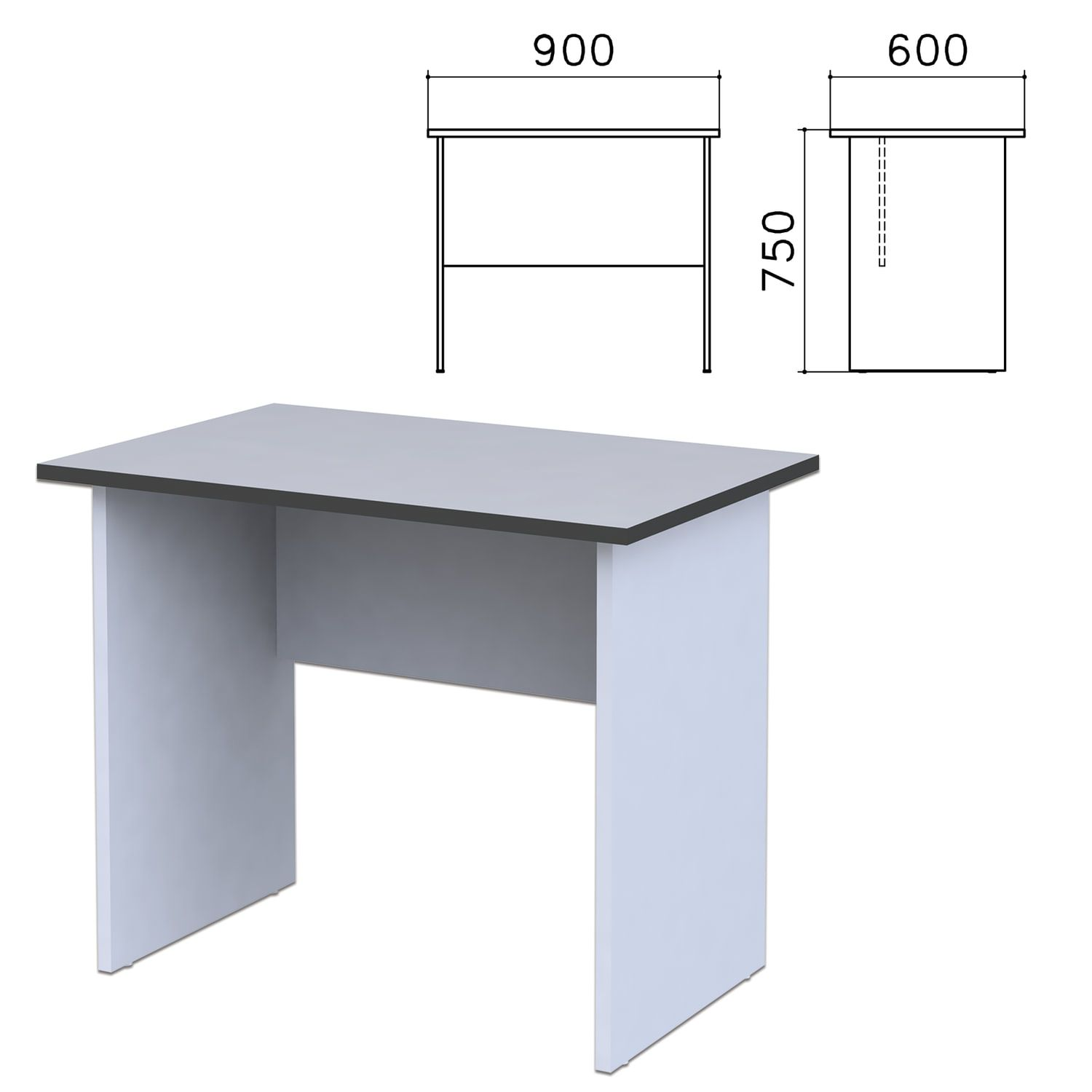"Table written ""Monolith,"" 900 x600 x750 mm, color gray"
