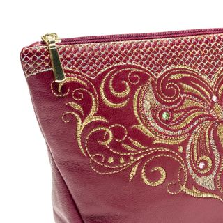 Leather cosmetic bag Butterfly Burgundy with gold embroidery