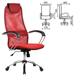BK-8CH office chair, mesh fabric, chrome, red