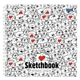 Sketchbook, white paper 120 g/m2, 170 x 170 mm, 80 sheets, comb,