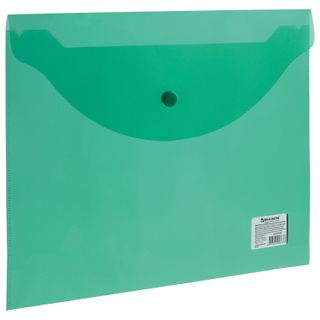Folder-envelope with button BRAUBERG, A4, 100 sheets, transparent, green, 0.15 mm