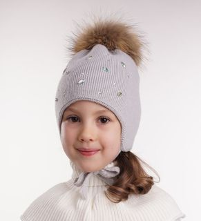 "Double hat for girls ""Isabella"" on the base with fur pompon"