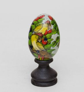 """Egg wooden """"Parrots"""" 14 cm"""