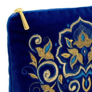 """The velvet necklace """"the Stone flower"""" blue color with Golden embroidery"""