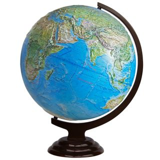 Physical relief globe with a diameter of 420 mm on wooden stand