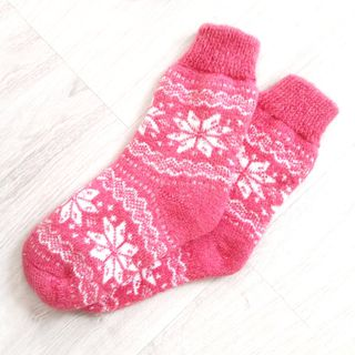 Knitted woolen socks with an ornament