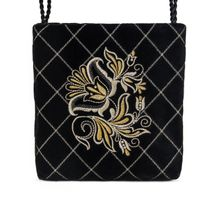 Velvet bag 'the moon' black with gold embroidery