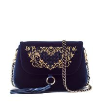 Velvet bag Victoria blue with gold embroidery