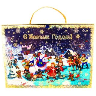 """New Year's gift Suitcase """"Christmas fun"""", a set of sweets 1050g."""