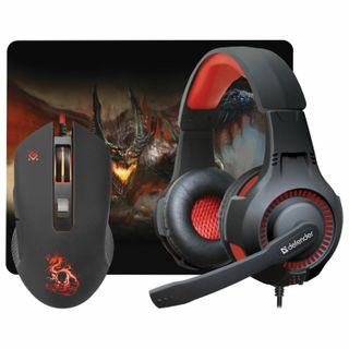 DEFENDER / Set of wired gaming Devourer MHP-006, headset, mouse 5 buttons + 1 wheel-button, mat, black