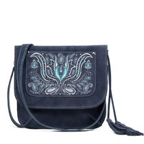 Suede bag 'Irida' blue with silver embroidery