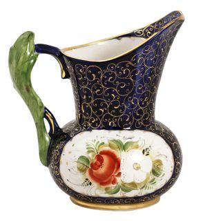 Pitcher Floral 0.75 l overglaze painting, Gzhel Porcelain factory