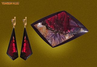 Earrings and brooch - trapezoid