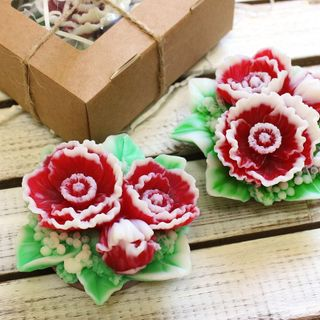 Handmade soap Bouquet of red flowers