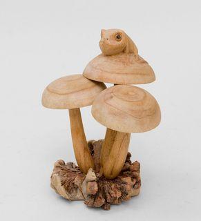 """Wooden figurine """"Frog on mushroom"""" 18 cm"""