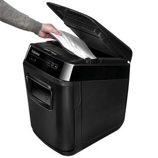 Shredder (shredder) FELLOWES AUTOMAX 200C, AUTO FEEDING, 4 security level, fragments 4x38 mm, 200 sheets, 32 l