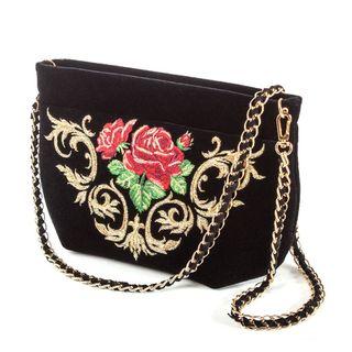 "Velvet bag ""Dolce Rosa"" black with short handle"
