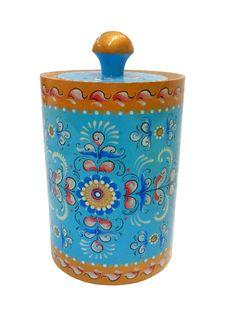 "Wooden barrel ""Shenkur blue painting"" 20 cm"