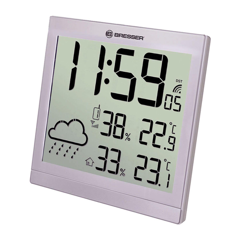 Meteorological station BRESSER TemeoTrend JC LCD, temperature sensor, hygrometer, clock, alarm clock, silver