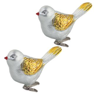 """GOLDEN FAIRY TALE / Christmas tree decorations """"Bird"""", SET 2 pcs., Plastic, 11 cm, silver color with golden wings"""
