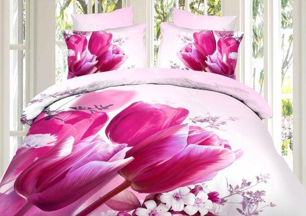 Satin bed linen 3D tulips