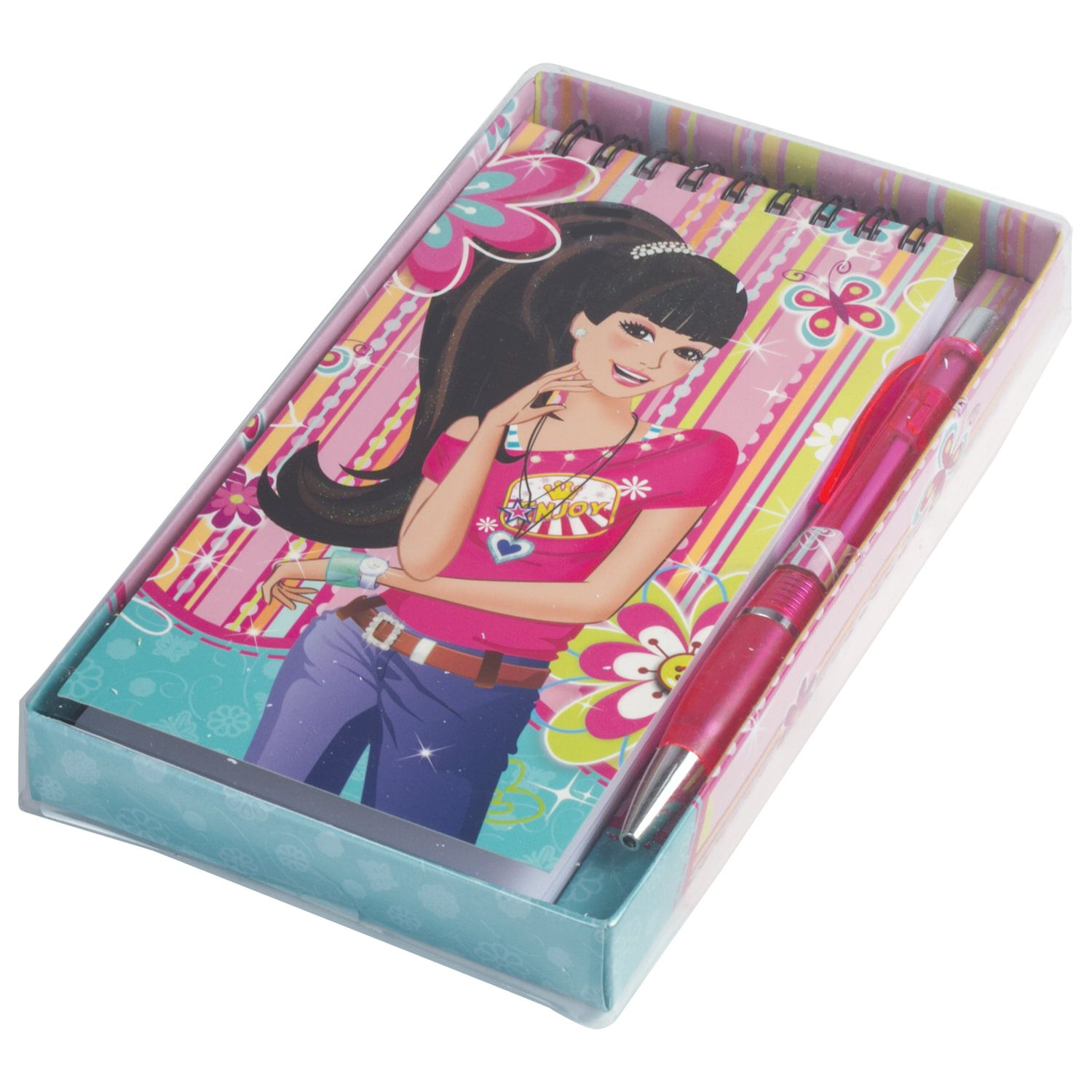 """BRAUBERG / Non-ruled notebook """"Girl"""" SMALL FORMAT 80 sheets A6, 85x165 mm, spiral, hardcover, pen, gift wrapping"""