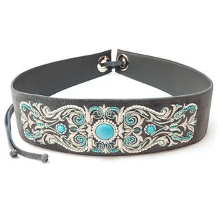 "Women's belt ""Tenderness"" gray color with silver embroidery"