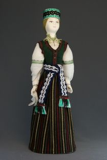 Doll gift porcelain. Latvia. Maiden traditional costume. Late 19th - early 20th century
