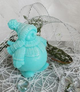 Snowman turquoise - homemade olive soap gift