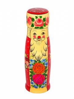 """Khokhloma painting / Case for damask """"Santa Claus"""" 0.5l"""