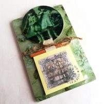 Handmade vintage girls writing block with fridge magnet