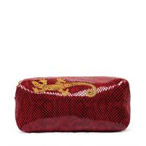 Leather cosmetic bag 'Lizard' Burgundy with gold embroidery