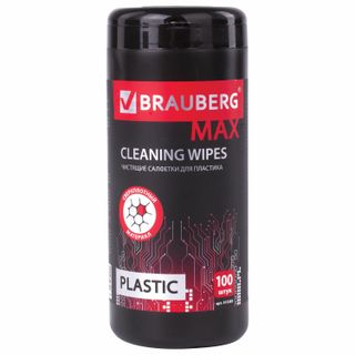 BRAUBERG / PRO thick wipes for plastic surfaces, 13x17 cm, tube 100 pcs., Wet