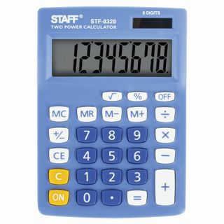 Desktop calculator STAFF STF-8328, COMPACT (145х103 mm), 8 digits, dual power supply, BLUE