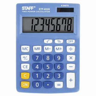 Desktop calculator STAFF STF-8328, COMPACT (145х103 mm), 8 digits, dual power supply, BLUE
