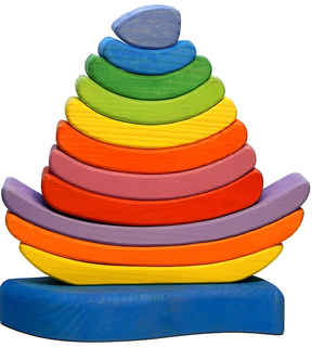 Pyramid Rainbow boat - colorful educational toy (handmade)