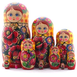 Matryoshka yellow scarf 10 dolls Polkhovsky Maidan