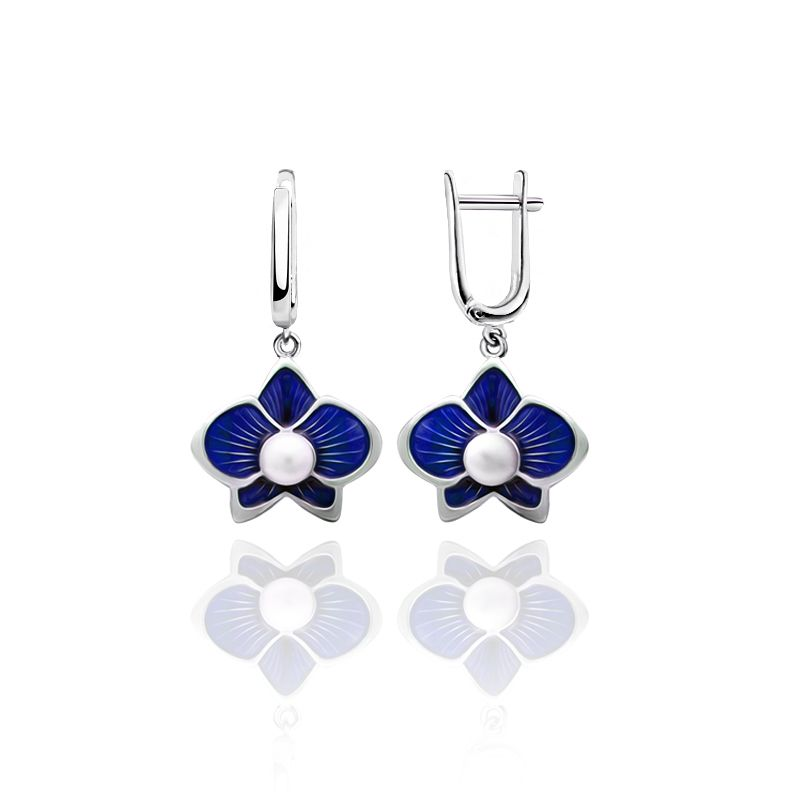 """Rostov enamel / Earrings """"Margarita"""" blue"""