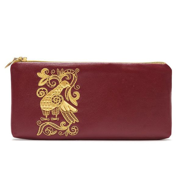 Leather eyeglass case 'Russian patterns' Burgundy with gold embroidery