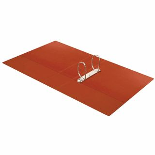 Folder on the 2 rings BRAUBERG, cardboard/PVC, 75 mm, red, 500 sheets (double life)