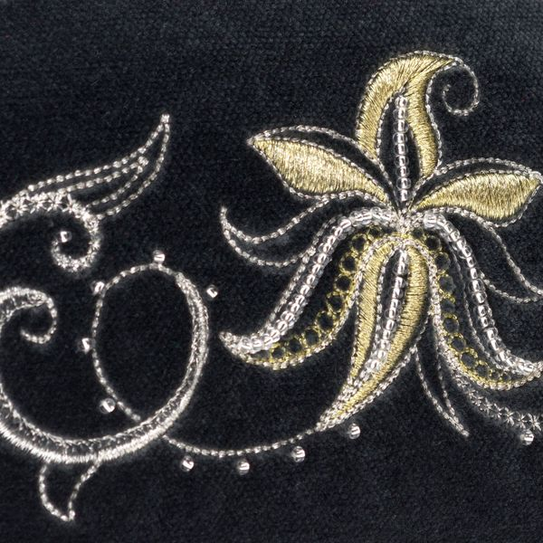 Velvet cosmetic bag 'Minuet' gray color with silver embroidery