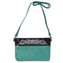 Leather bag 'Theresa' green with silver embroidery