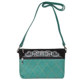"Leather bag ""Theresa"" green with silver embroidery"
