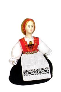 Doll gift. Norwegian women's costume. (a smaller version of model No. 1325).