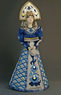 Doll gift porcelain. Suit for Gzhel motifs.
