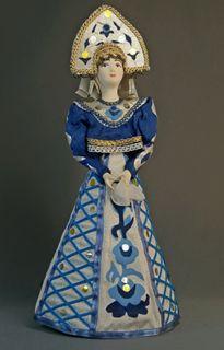 Doll gift porcelain. Suit for Gzhel motifs.