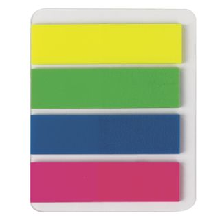 Bookmark adhesive STAFF NEON, plastic, or 12x45 mm, 4 colors x 25 sheets, Euro slot