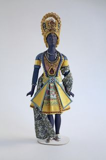 "Doll gift. Costume for the male lead in the ballet ""the Blue God"" on the sketches of Bakst"