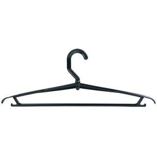 IDEA / Coat hanger, size 46-48, plastic, bar, strap hooks, swivel, black